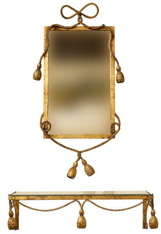 Gilt Metal Mirror and Shelf