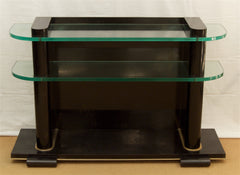 Art Deco Ebonized and Glass Console by De Coene Frères