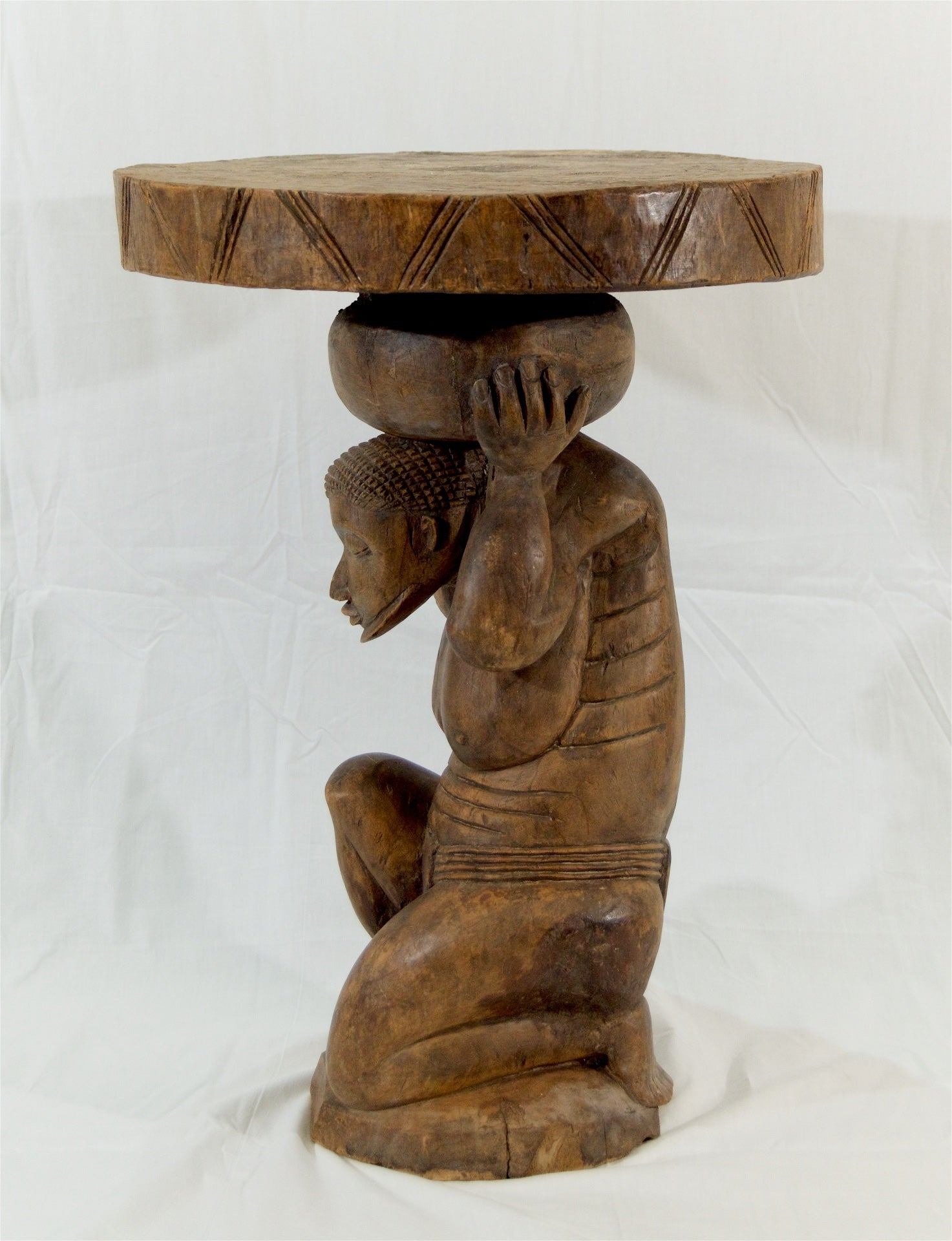 Tribal Carved Wooden Table from Mali