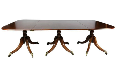 Regency Three-Pedestal Mahogany Dining Table