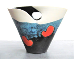 Ceramic Basket Vase by Elchinger Manufacture, France  Circa 1950