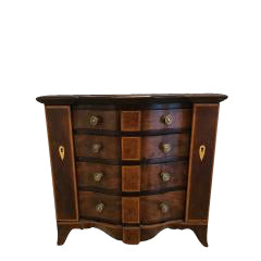 Fine Quality English George III Mahogany Serpentine Miniature Chest