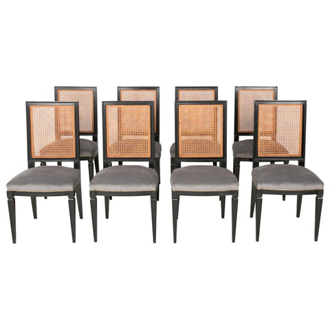 Set of 8 Caned Back Ebonized Dining Chairs