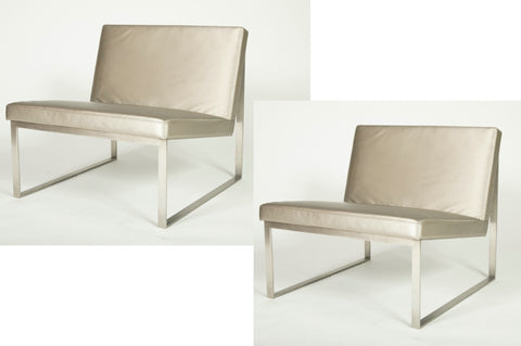 A Pair of B.2. Stainless Steel Chairs Designed by Fabien Baron for Bernhardt