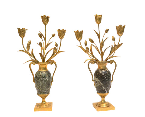 Pair Of French Bronze & Marble Candelabras