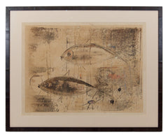 Framed Stone Lithograph of Fish