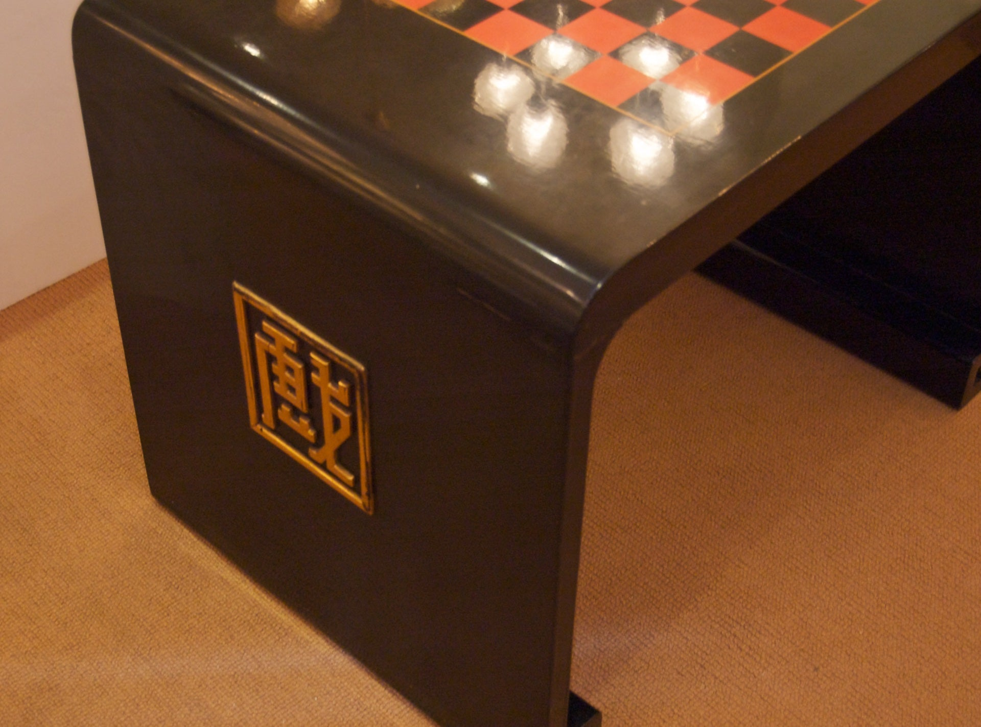 French Chinoiserie Lacquer Game Table