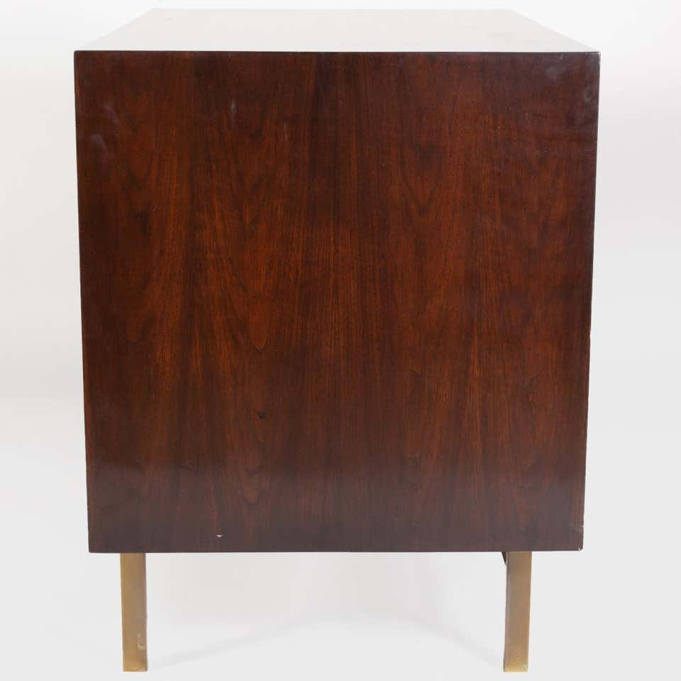 Mahogany and Brass Tambour Door Cabinet in the Manner of Harvey Probber