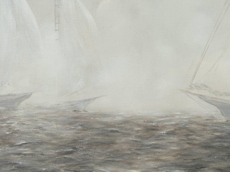 "Vintage Impressionism Painting ""Sailboats in Morning Fog"""
