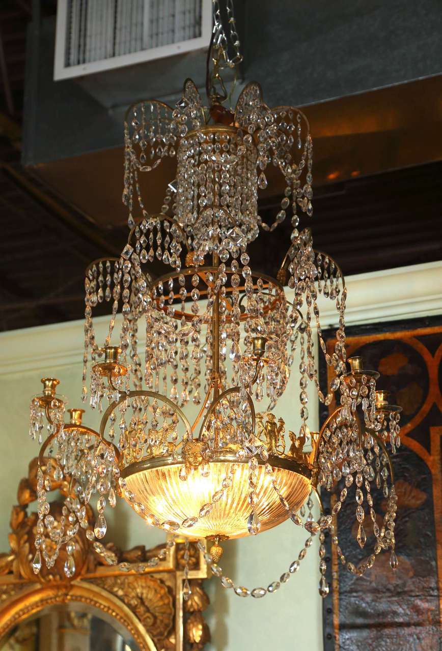Neoclassical Dore Bronze and Crystal Chandelier