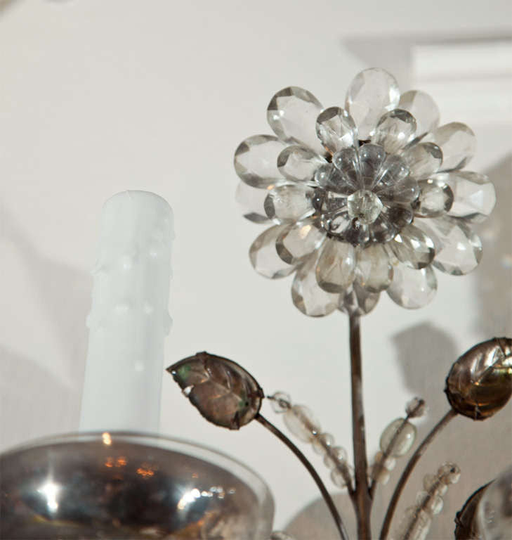 Pair of Rock Crystal Five Arm Bagues Sconces