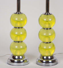 Vintage Pair of Murano Glass Lamps on Chrome Mounts