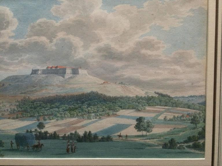 18th Century Italian Gouache Landscape with Castle
