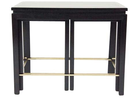 A Set of Walnut Nesting Tables with Brass Stretchers Designed by Edward Wormley for Dunbar