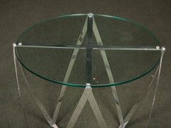 A John Vesey Aluminum & Glass-Top Round Side Table