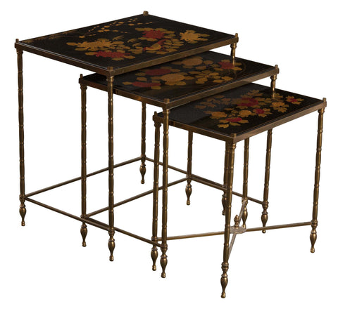 Nest of Three Bronze Faux Bamboo Tables