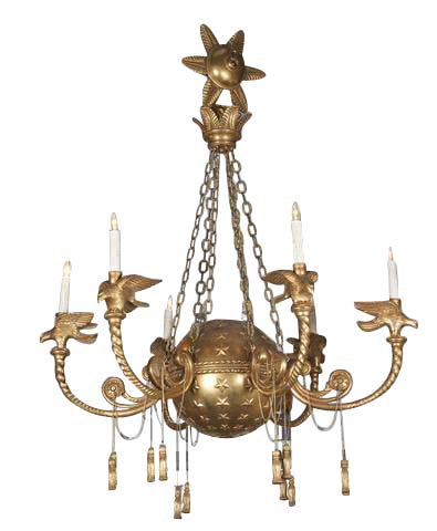 Giltwood Globe and Star  Form Chandelier
