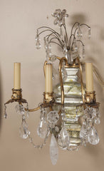 Pair of Gilded Rock Crystal Sconces