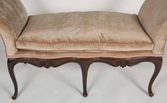 French Walnut Window Seat Upholstered in Silk Velvet