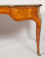 Kingwood Bureau Plat in the Louis XV Style with Tooled Leather Top