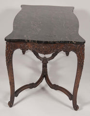 Marble Top Walnut Carved Center Table