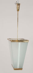 Mid-Century Brass & Frosted Glass Italian Pendant Light