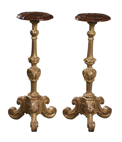 Pair of Baroque Gilded Pedestals