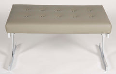 Polished Aluminum Bench with Recent Leather Seat