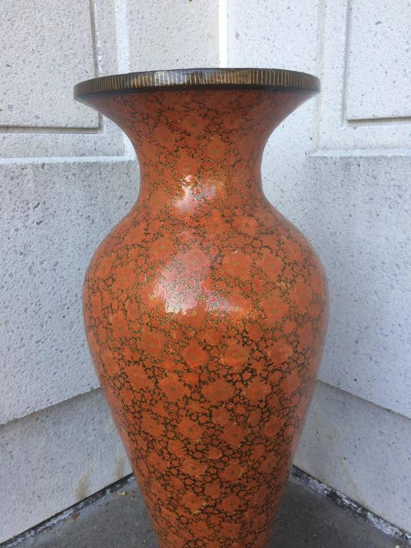 Large Scale Red Lacquer Papier Mache Urn