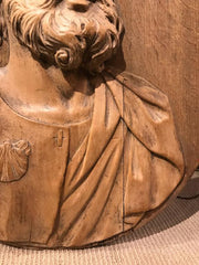 Lifesize 17th Century Carved Relief of Saint James