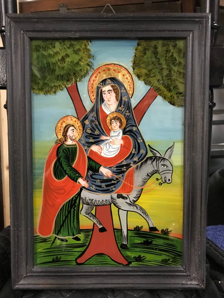 "Reverse Glass Painting of The Holy Family, ""The Flight to Egypt"""
