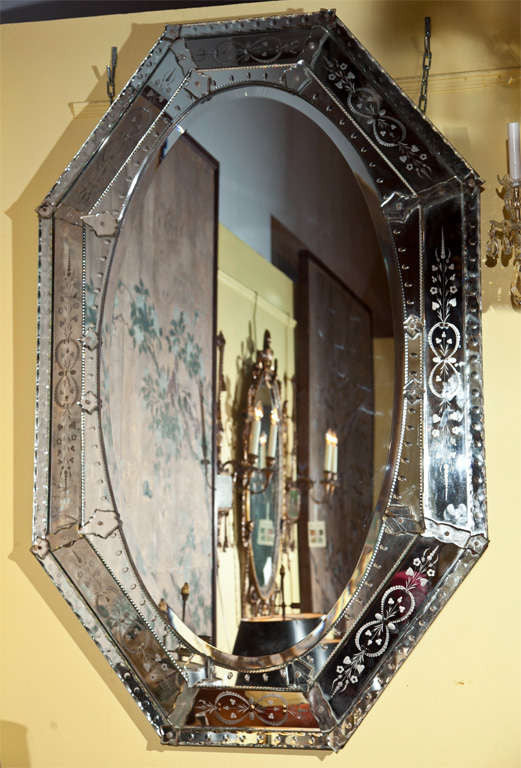 Octagonal French Deco Mirror