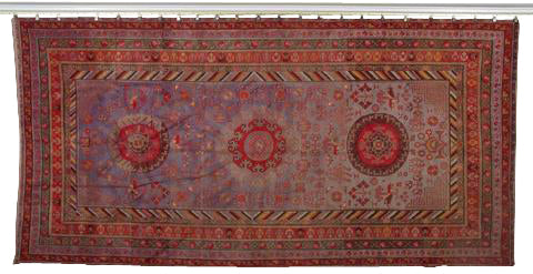 A Large Vibrantly Colored Samarkand Carpet