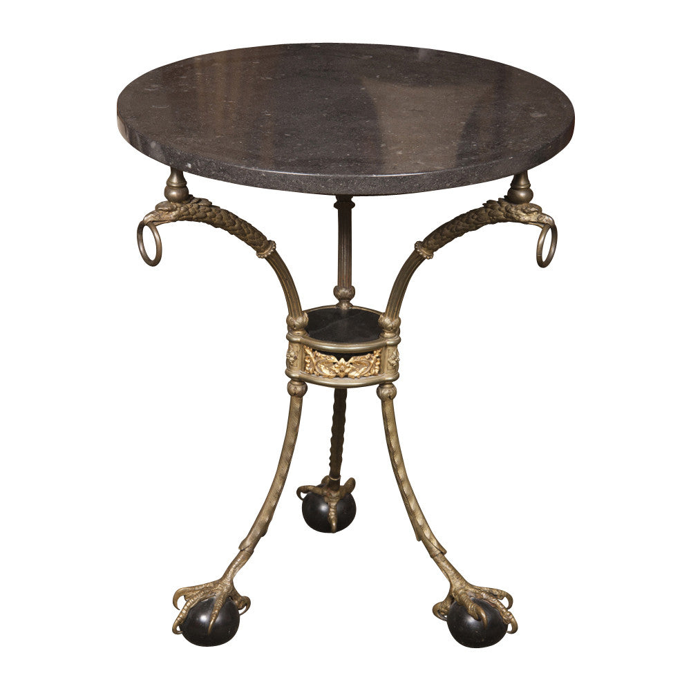 Iron Gueridon Table with Gilt Bronze