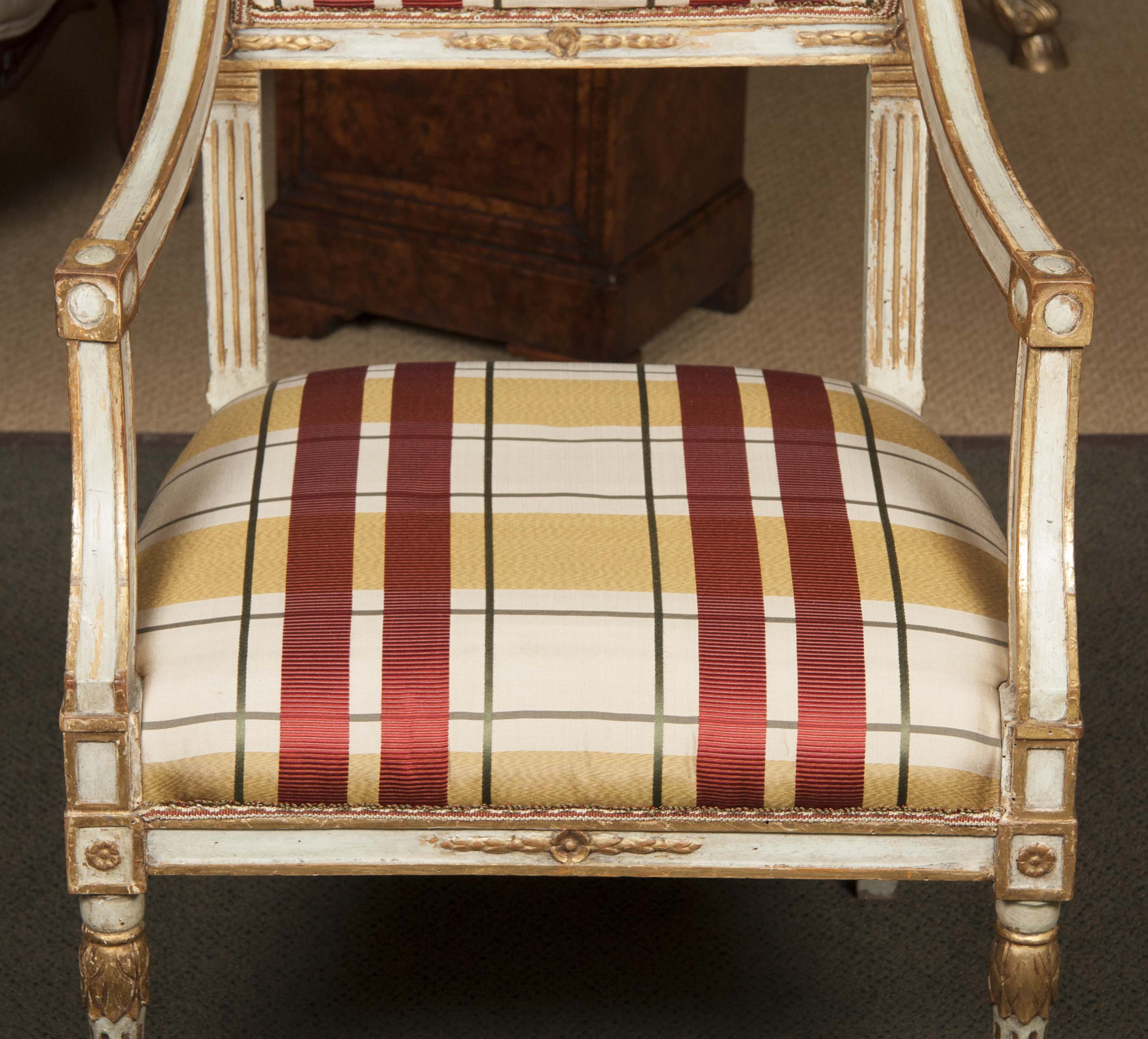 Italian 18th Century NeoClassic Painted Armchair