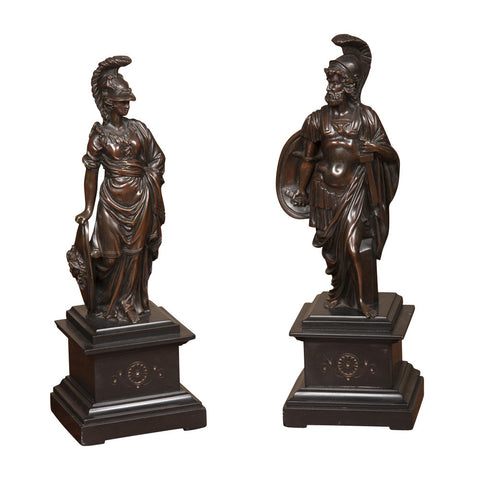 Pair of Italian Bronze Figures of Mars & Minerva