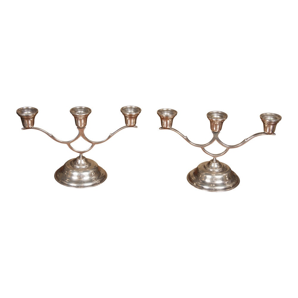 Pair of Sterling Silver Candelabra
