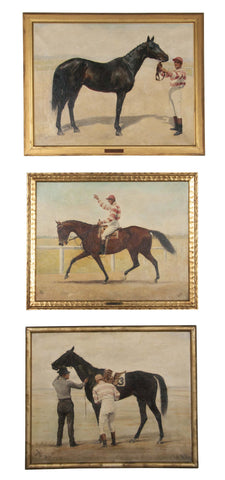 Three Oil on Canvas Paintings of Steeplechase Horses and Jockeys by George Lee (1897-1905)