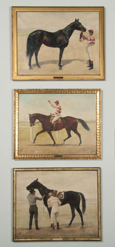 Set Of Three Oil On Canvas Paintings of Steeplechase Horses and Jockey's by George Lee (1897-1905)