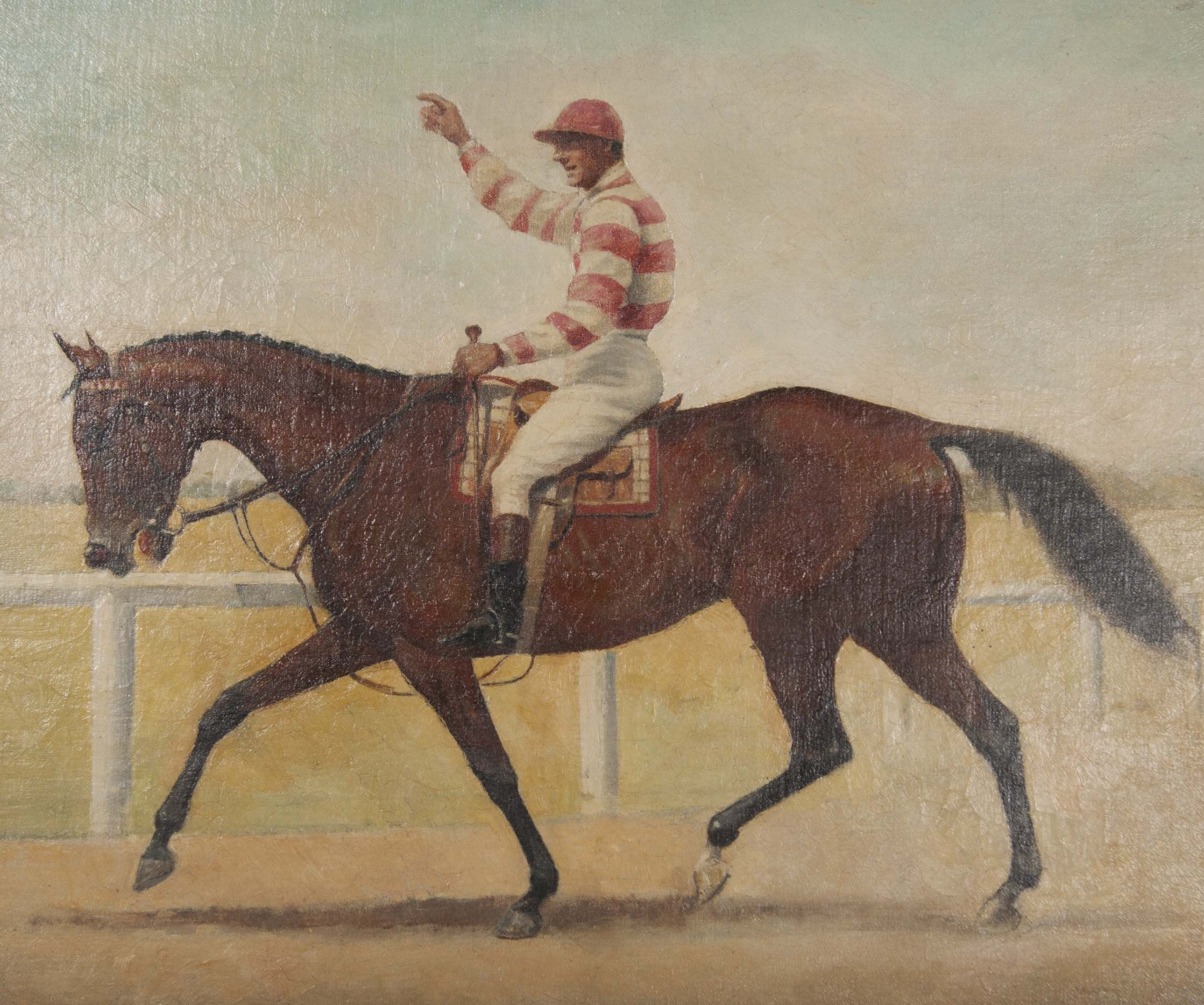 Three Oil on Canvas Paintings of Steeplechase Horses and Jockeys by George Lee