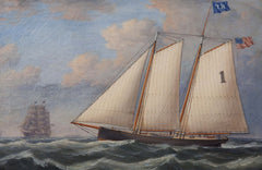 Oil Painting of a Boston Pilot Boat