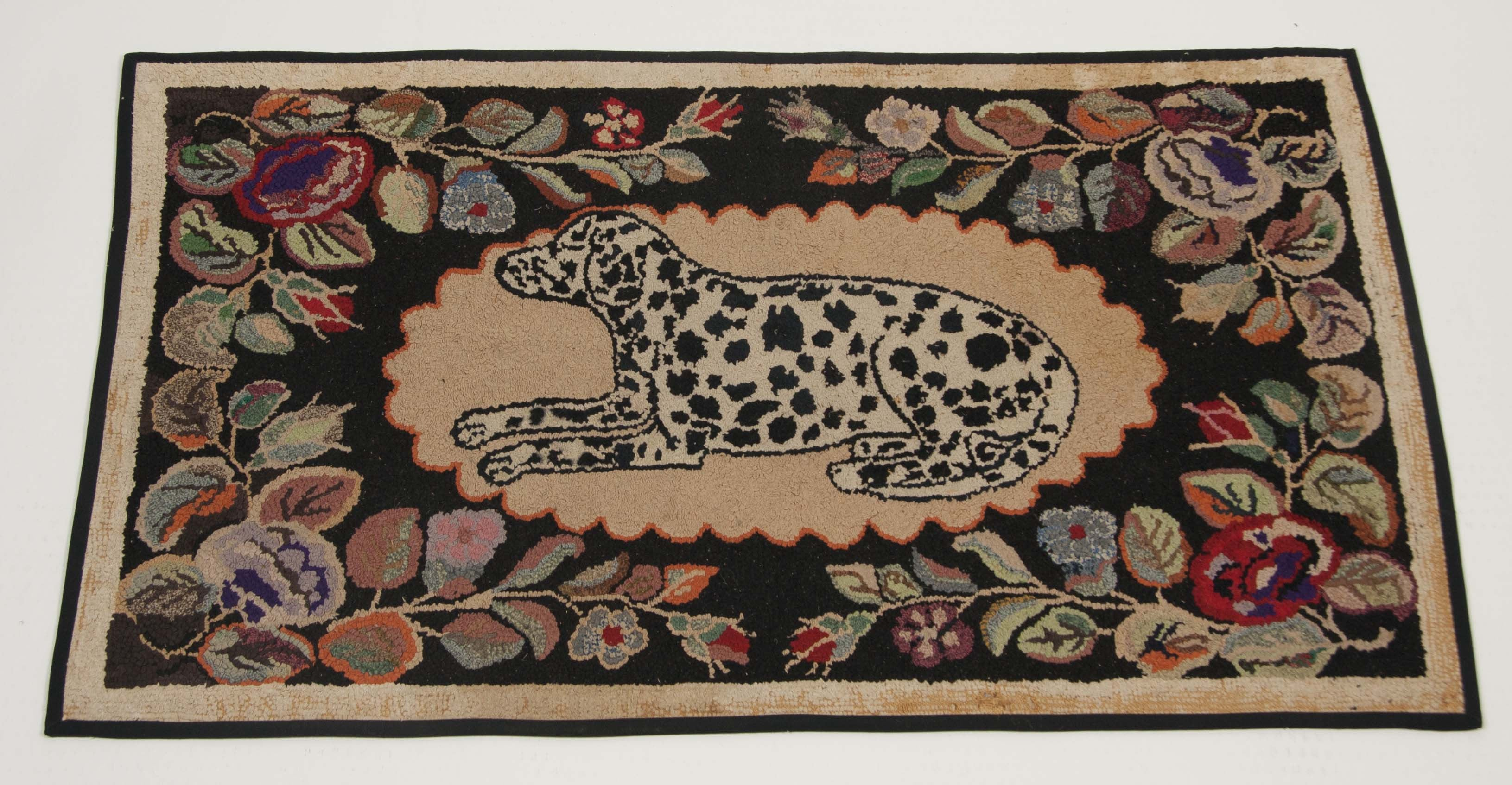 Hooked Rug of Dalmation Dog with Flowers