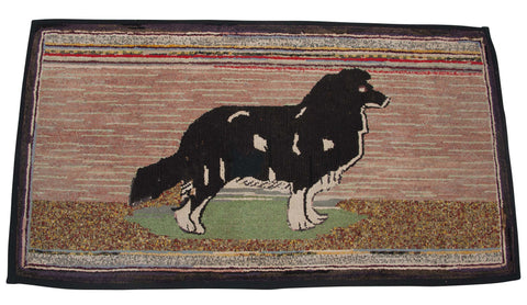 Hooked Rug of Collie Dog