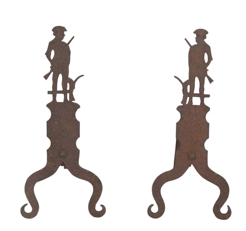 American Forged Cast Iron Andirons