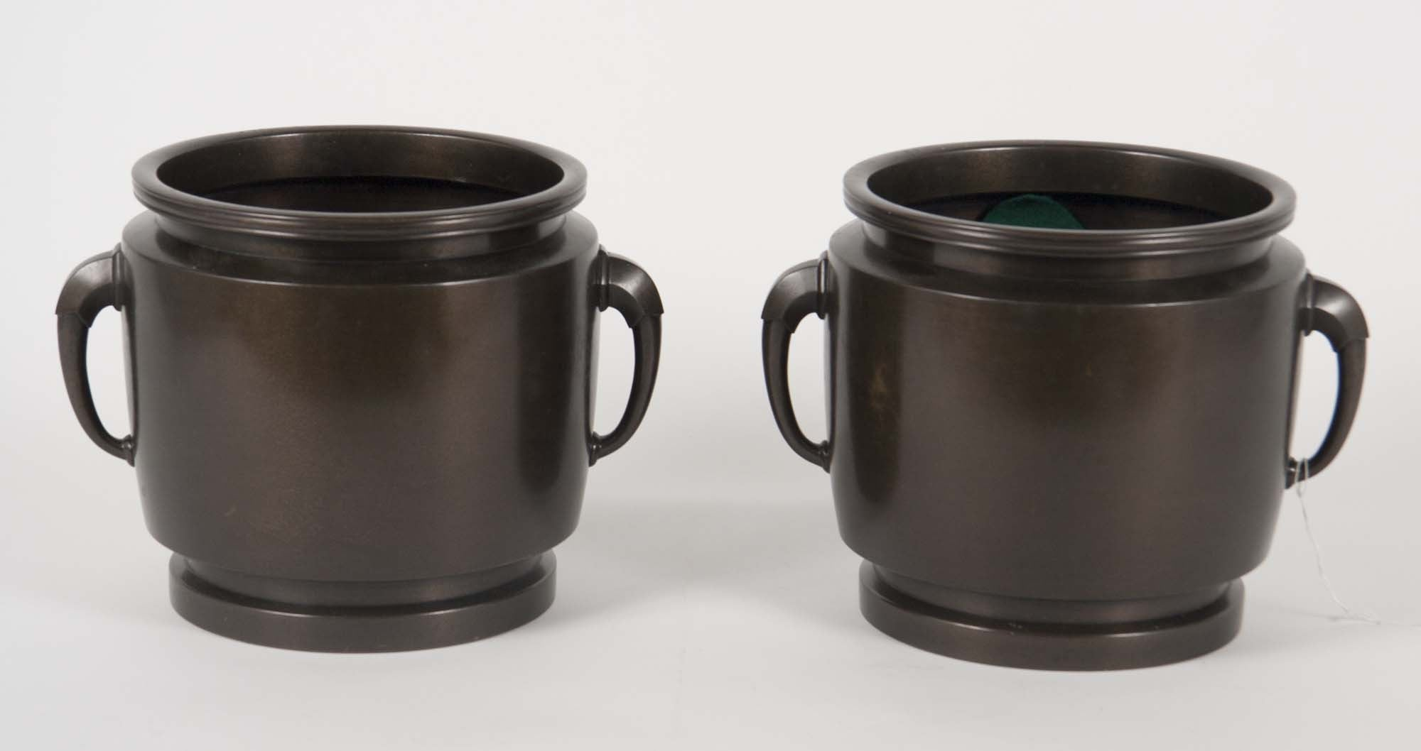 Early 20th Century Japanese Showa Bronze Cache Pots