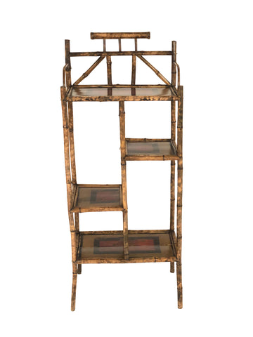 A English Bamboo & Lacquered Japanned Etagere