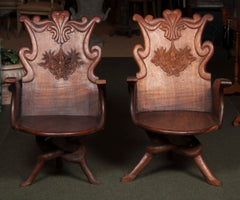 Pair of 19th Century Art Nouveau Gaudi Style Spanish Armchairs