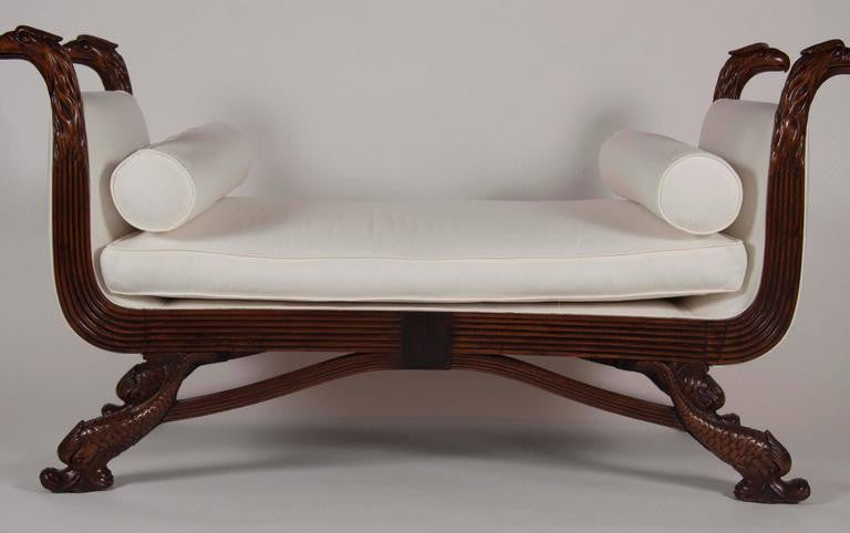 Finely Carved Regency Mahogany Daybed or Bench