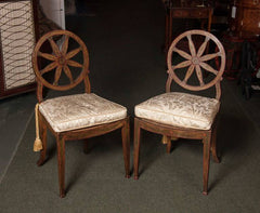 Pair of Wheel Back Painted Side Chairs