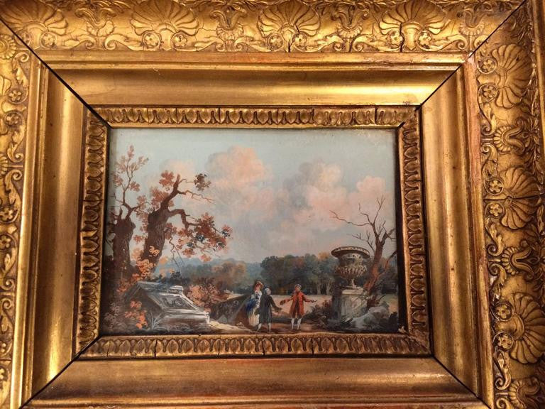 Grand Tour Neoclassical Gouache in Giltwood Frame